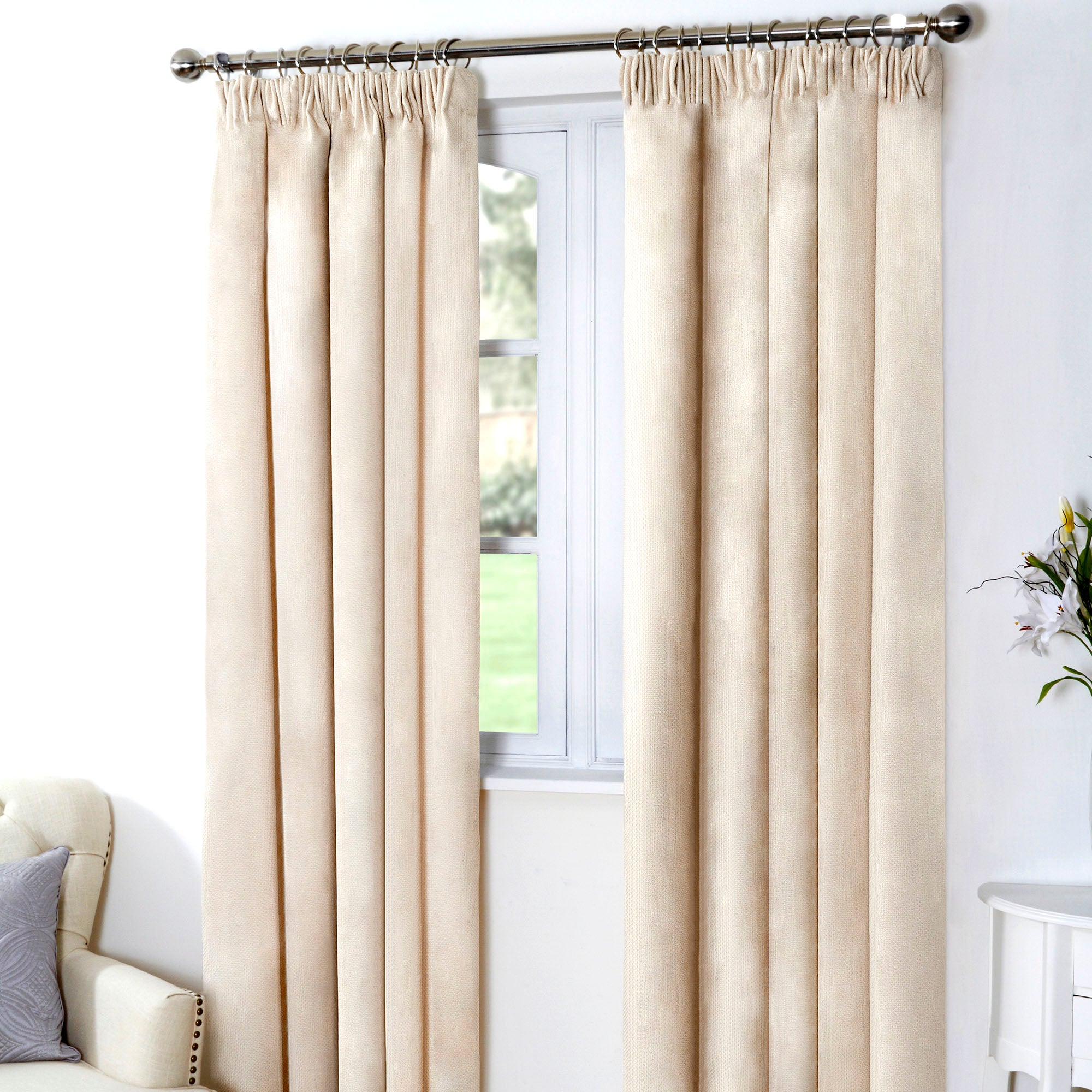 Natural Aspen Thermal Pencil Pleated Curtains