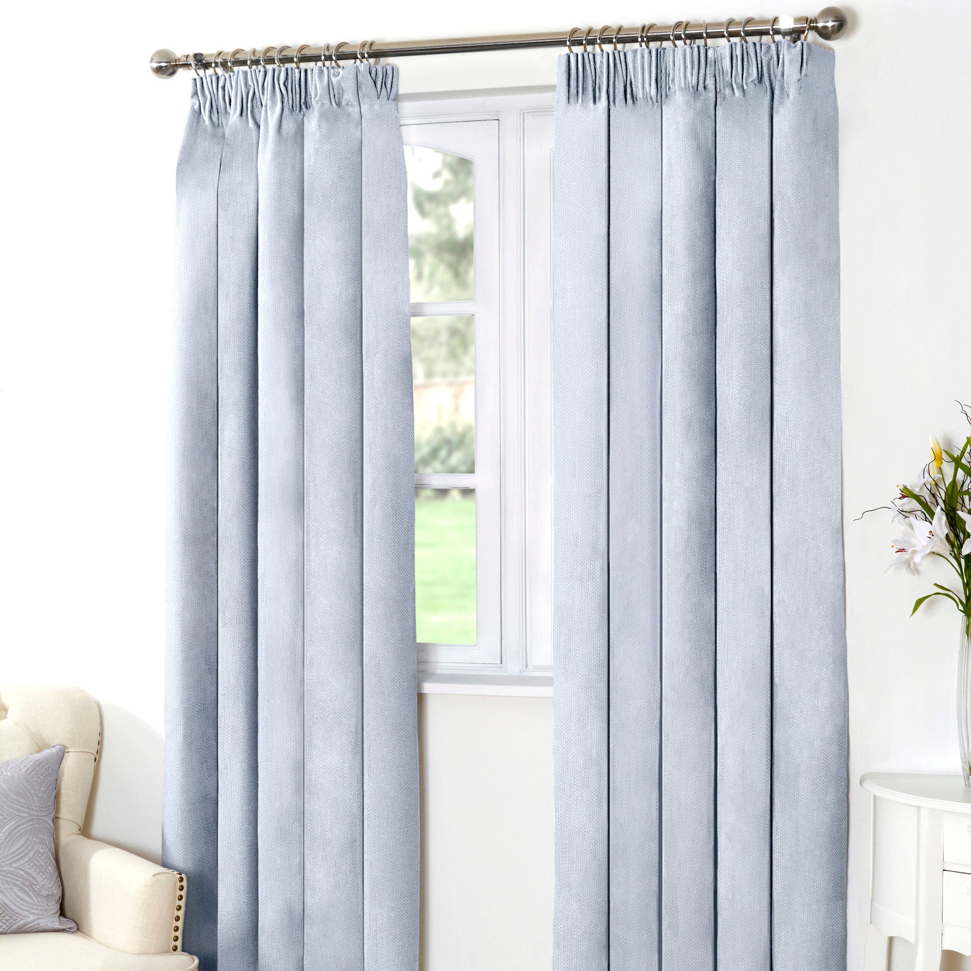 Duck Egg Aspen Thermal Pencil Pleat Curtains