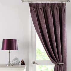 Mauve Chenille Thermal Pencil Pleat Door Curtain