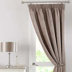 Taupe Chenille Thermal Pencil Pleat Door Curtain
