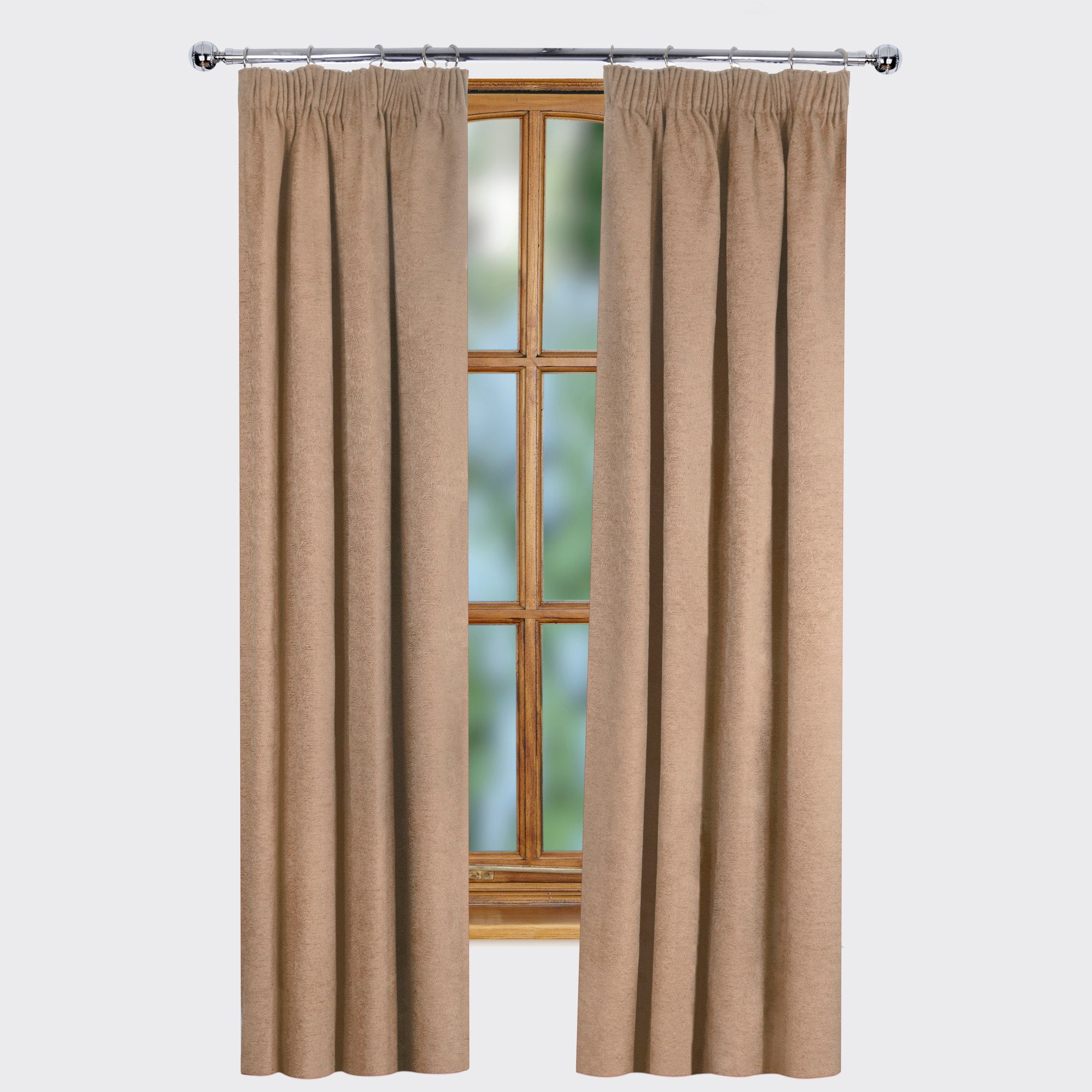 Natural Ontario Thermal Pencil Pleat Curtains