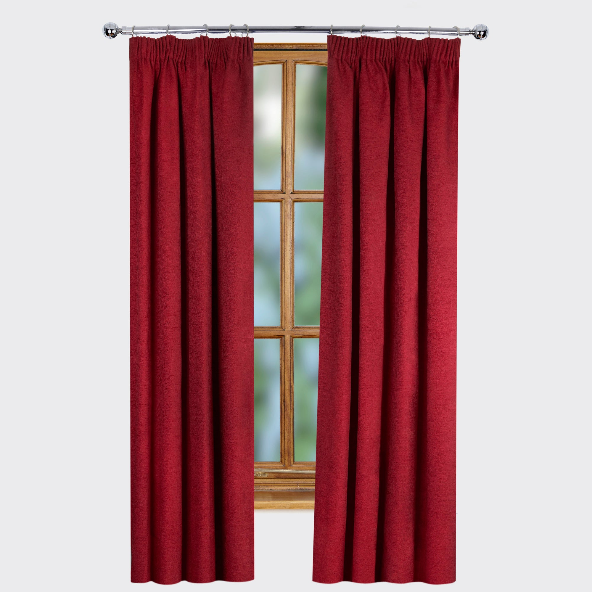 Red Ontario Thermal Pencil Pleat Curtains