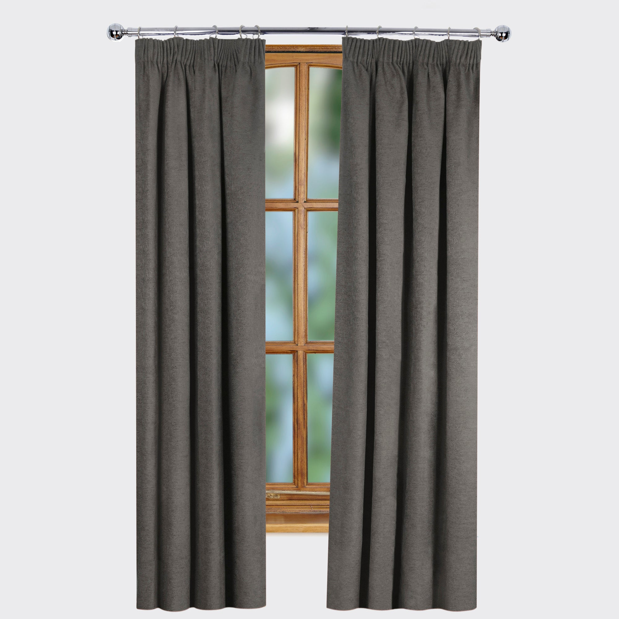 Slate Ontario Thermal Pencil Pleat Curtains