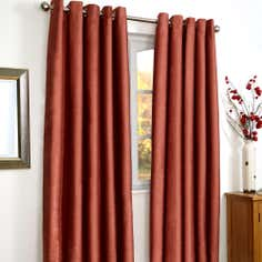 Red Vancouver Thermal Coated Eyelet Curtains