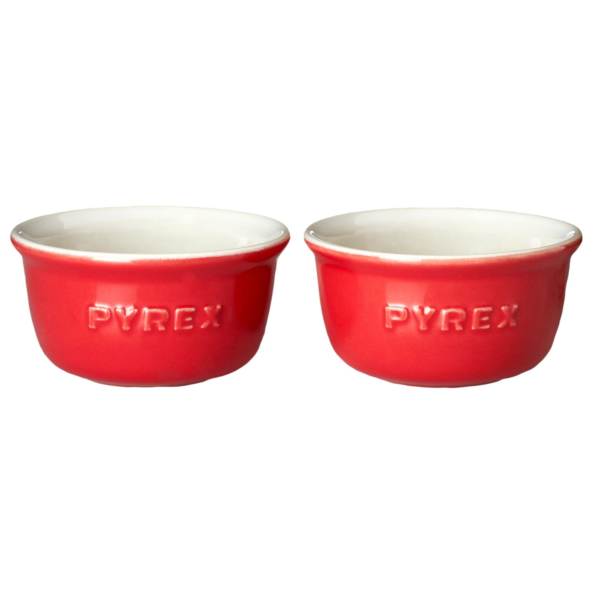 Red Pyrex Impressions Set of 2 Ramekins