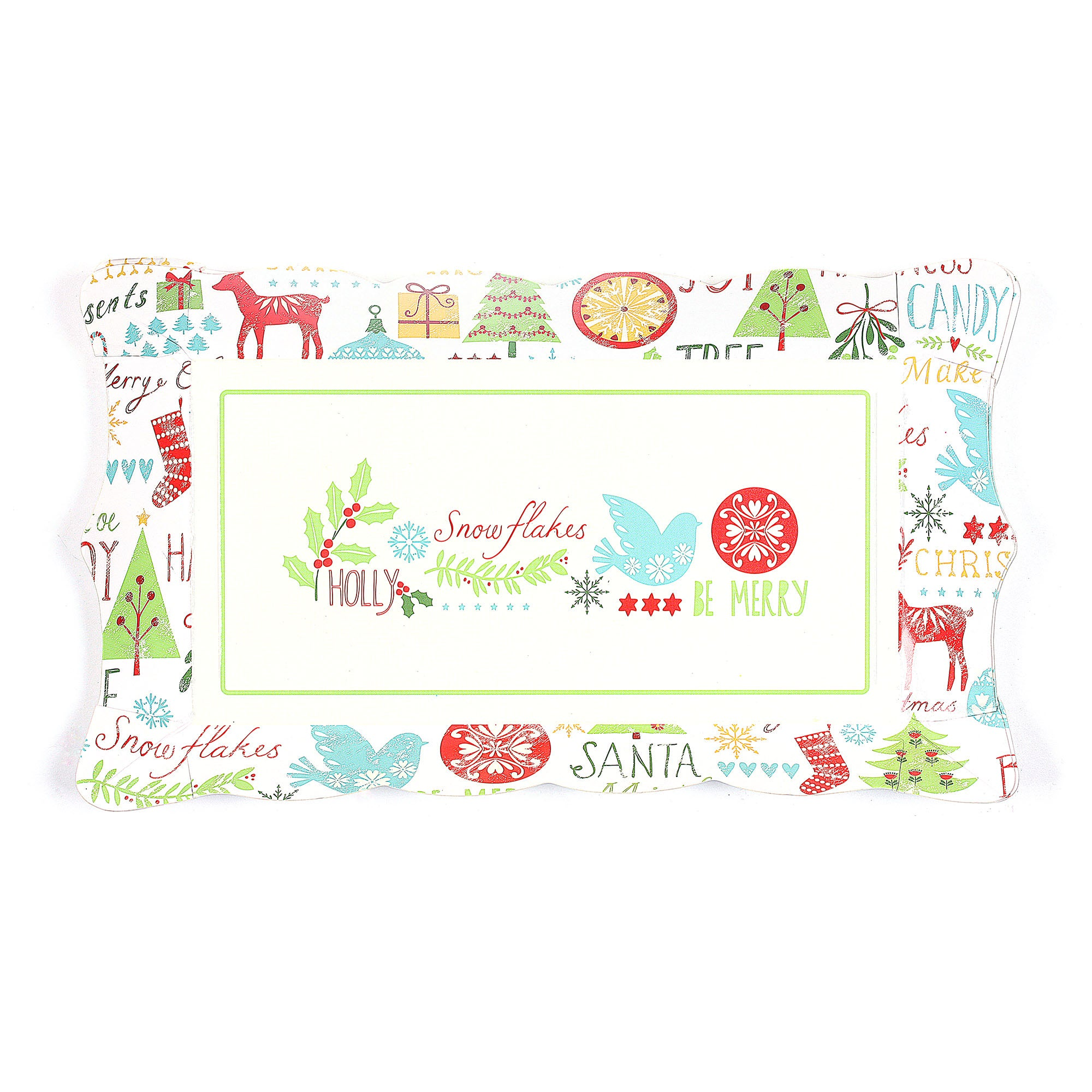 Be Merry Rectangular Card Platter Set Of