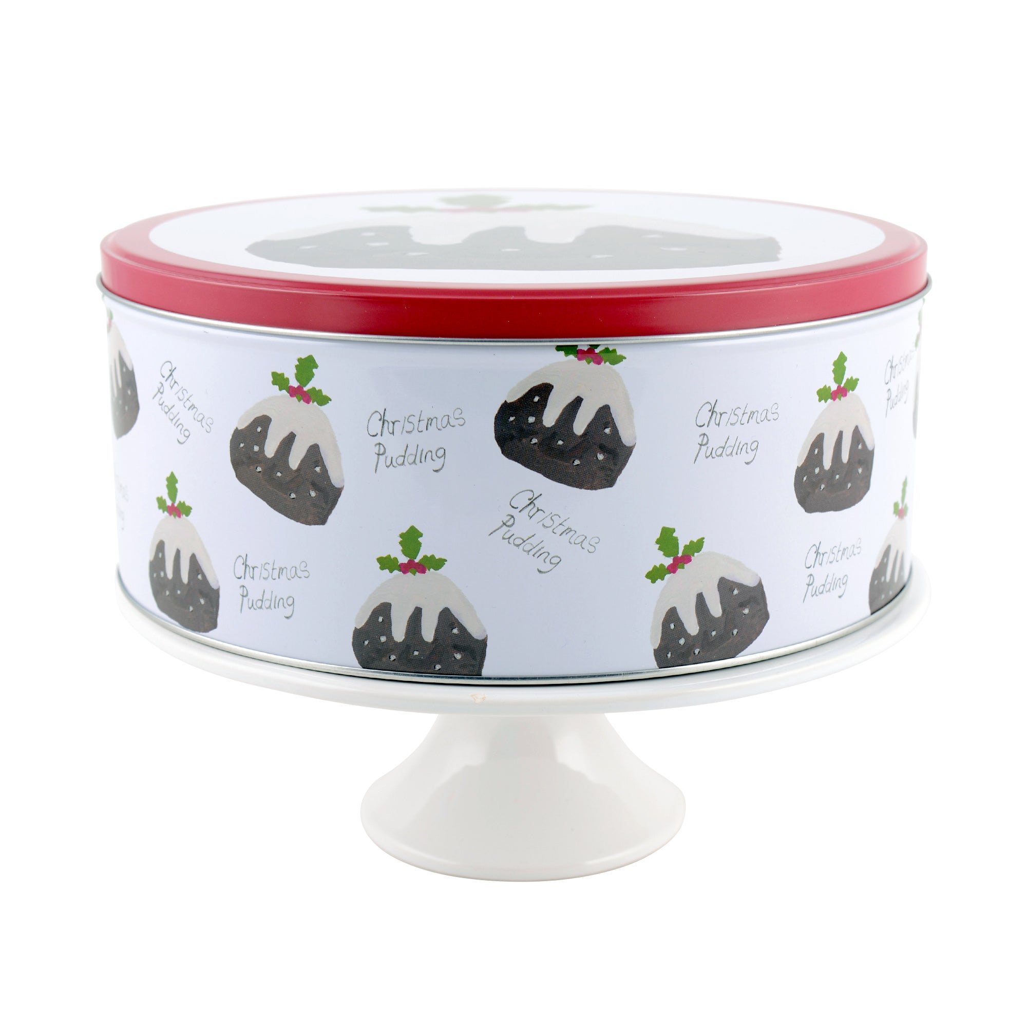Christmas Pudding Cake Stand and Tin Set