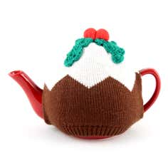 Christmas Pudding Tea Cosy and Red Teapot