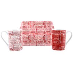 Red Words Mugs and Tray Set