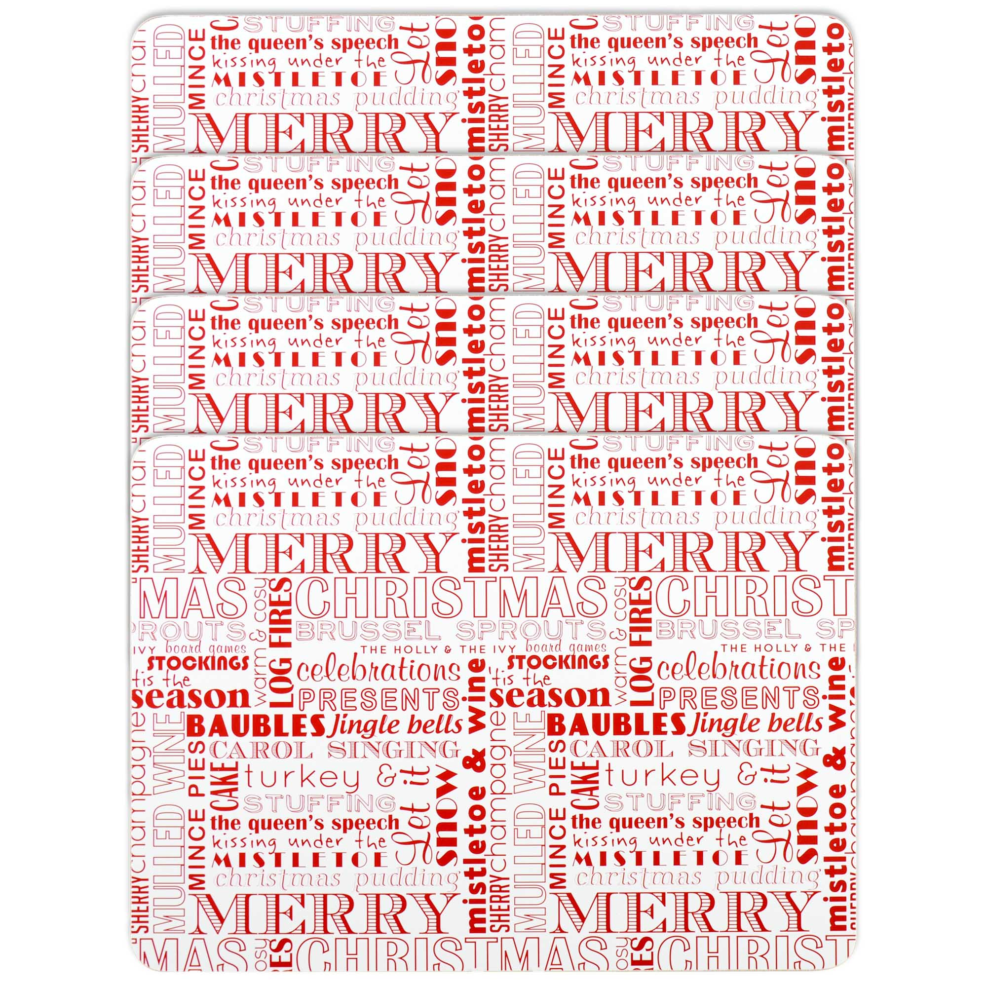 Set of 4 Red Words Placemats