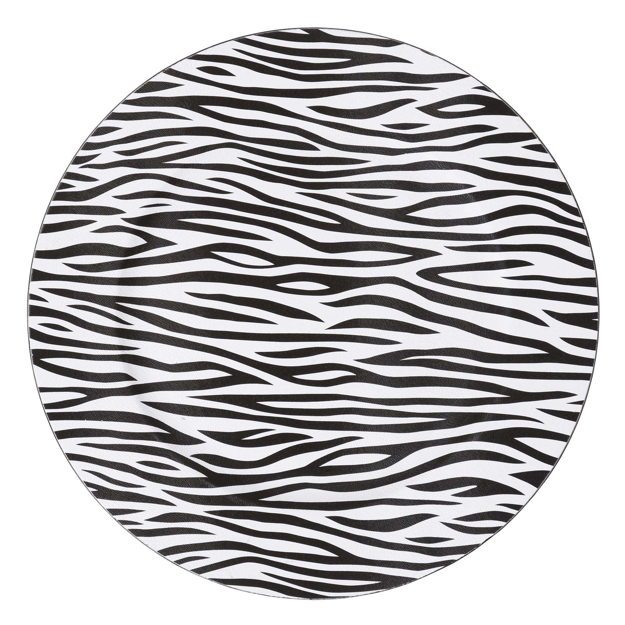 Zebra Print Round Charger Plate
