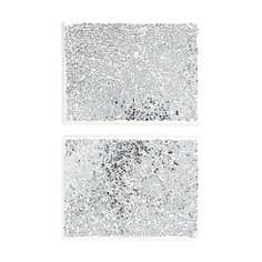 Set of 2 Silver Rectangle Crackle Placemats