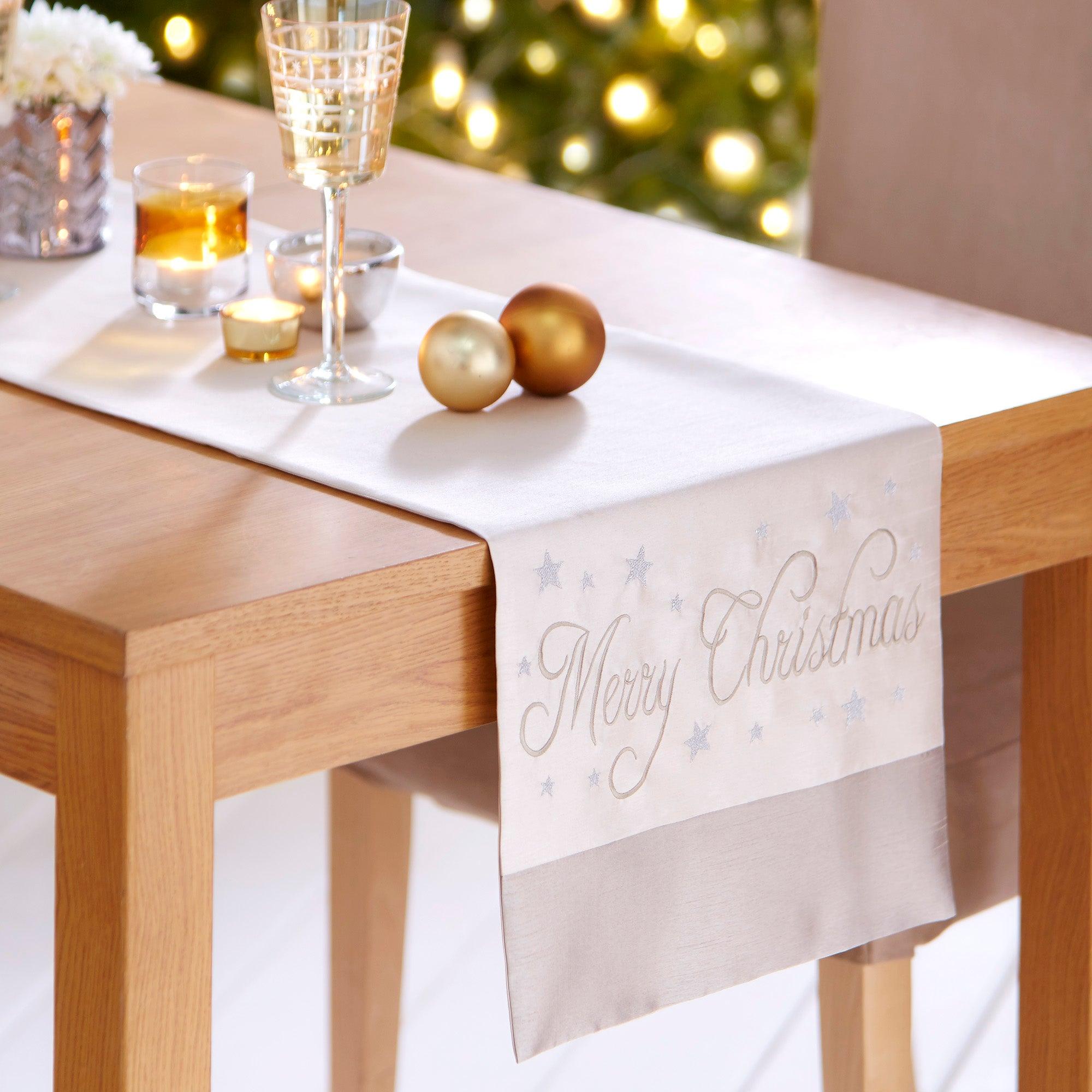 Pearl Merry Christmas Table Runner