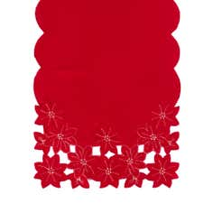 Red Cut Out Poinsettia Table Runner