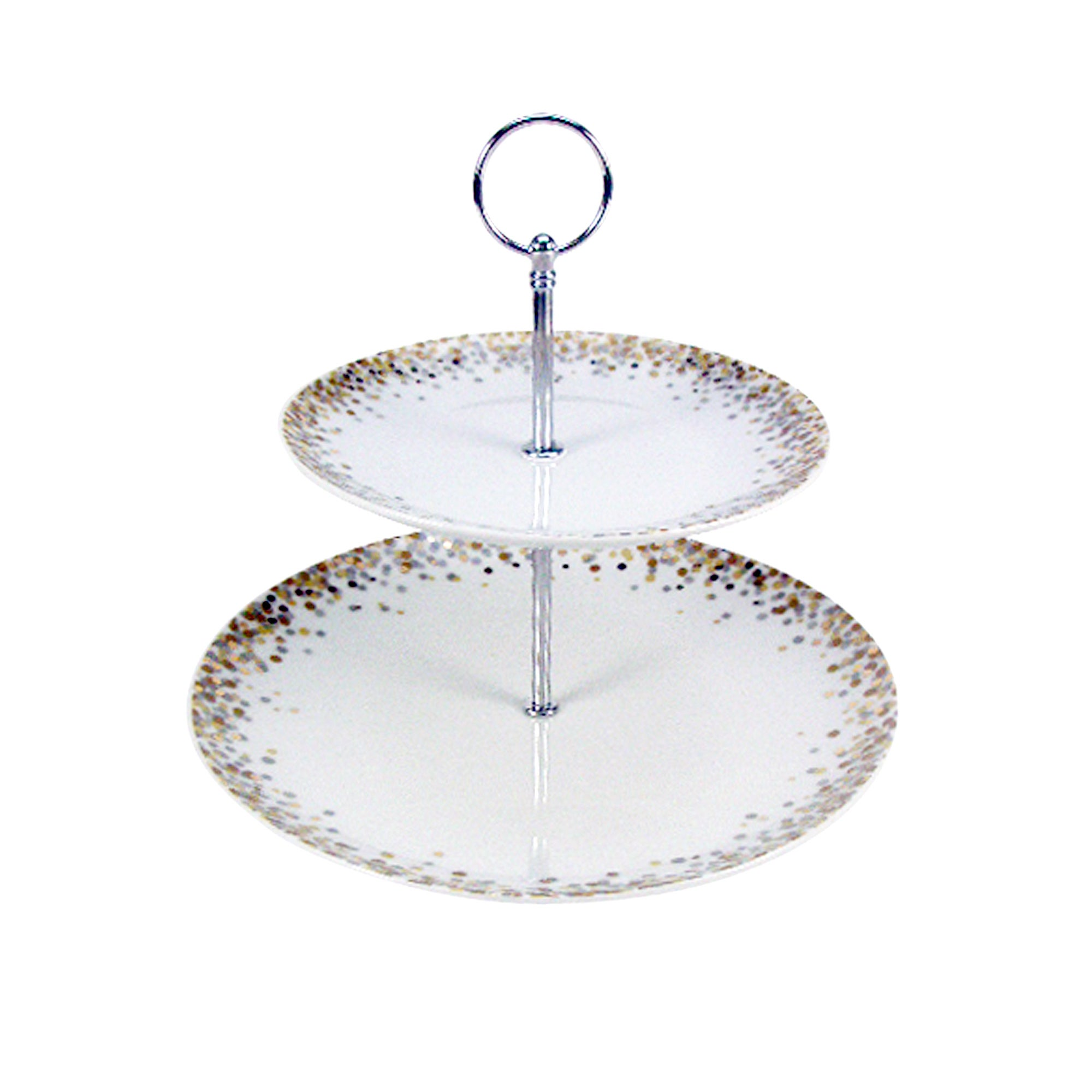 Gold Glitter Two Tier Cake Stand