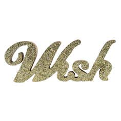 Gold Glitter Wooden Wish Word
