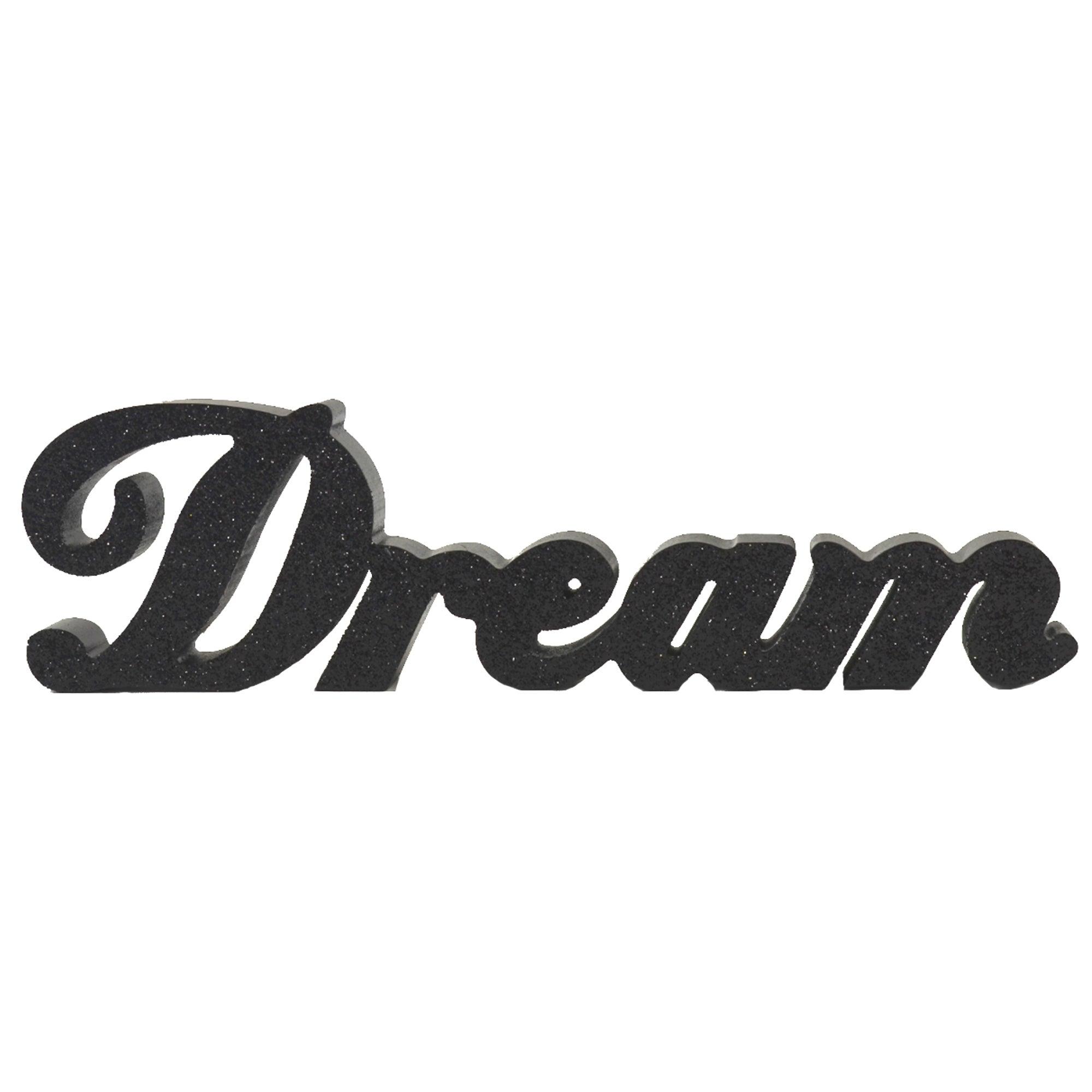 Black Glitter Wooden Dream Word
