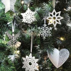 Four Porcelain Snowflake Decorations