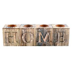 Home Wooden Block Tealights Multi