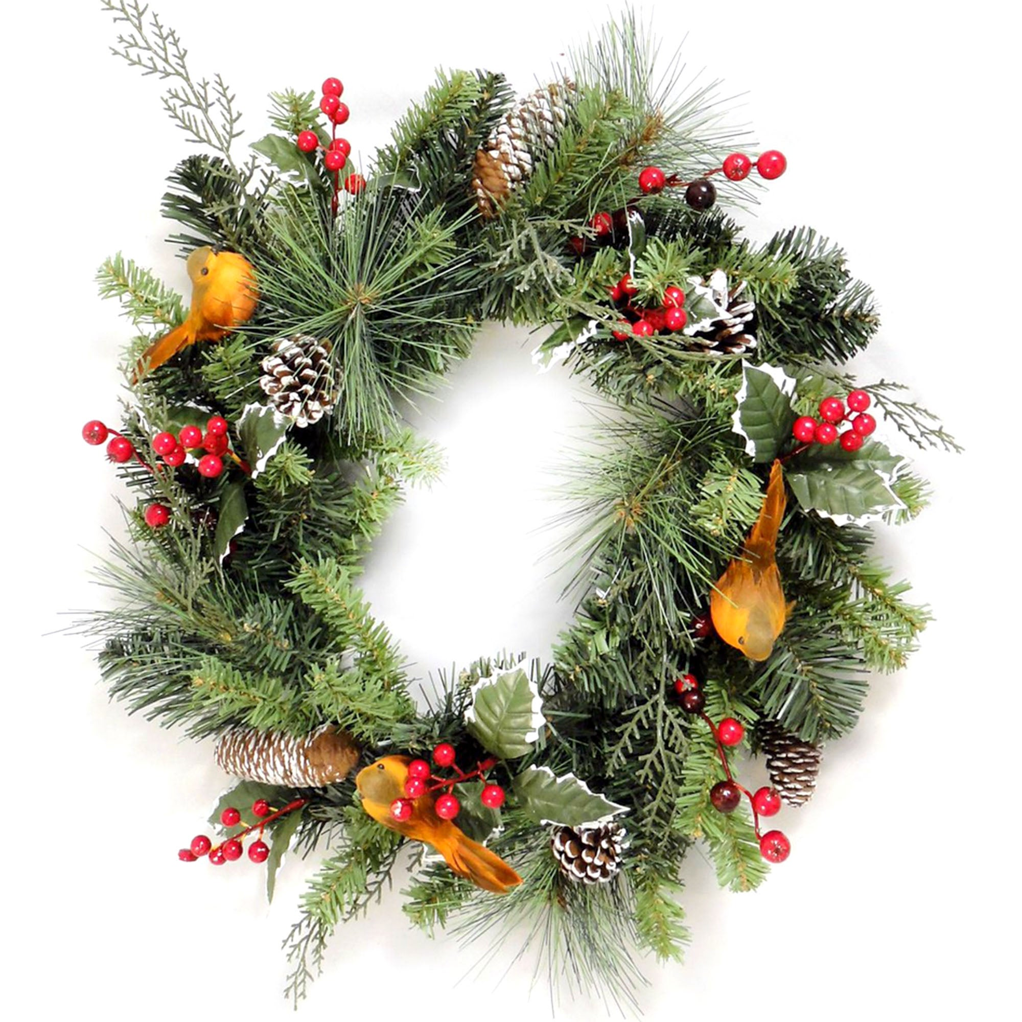 Pine Wreath with Robin and Berries Green