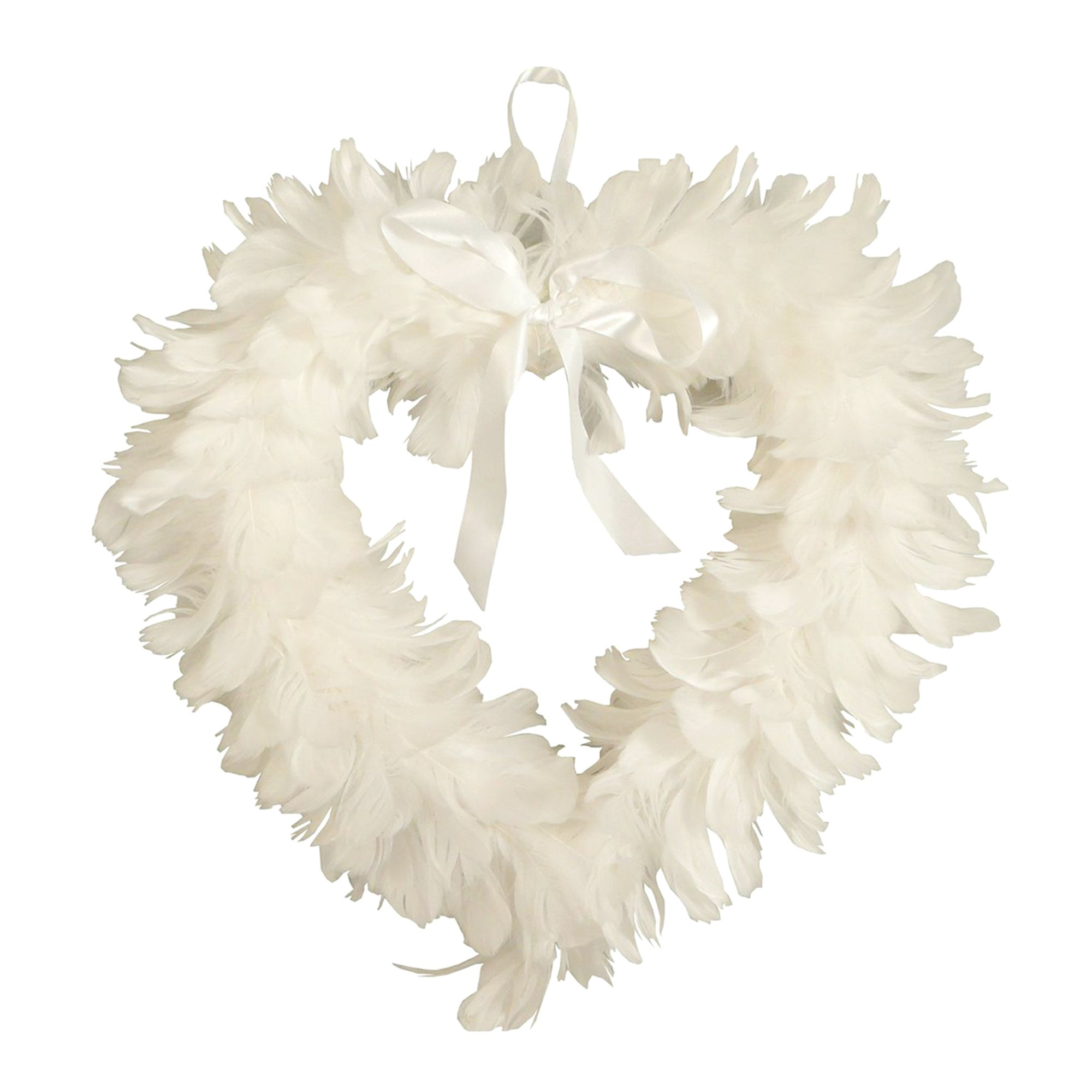 Feather Heart Wreath 38cm White