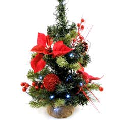 Pine Tree with Red Poinsettia Flowers and LED lights