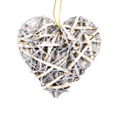 Silver Glittered Willow Heart
