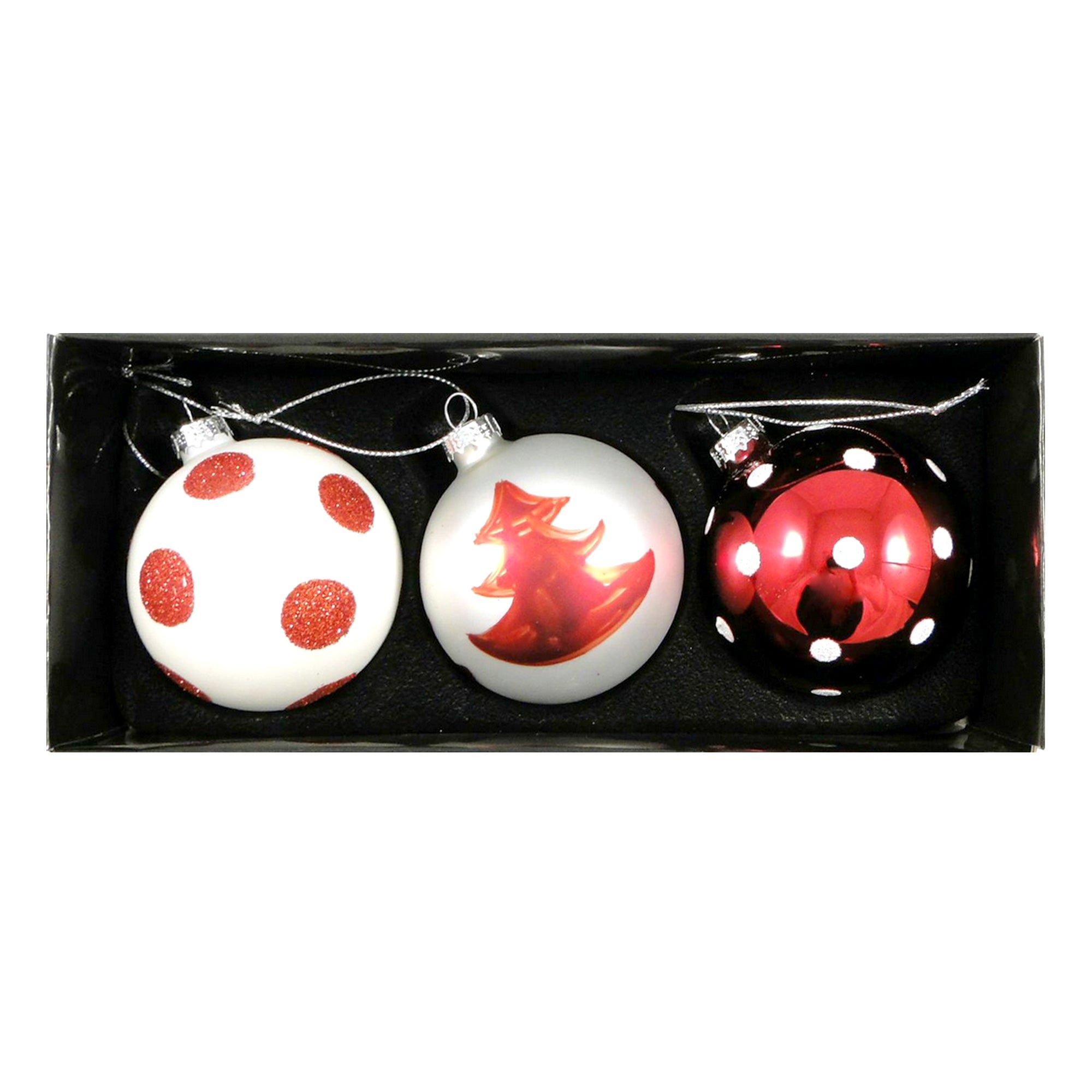 Red Set of Three Glass Ball Baubles