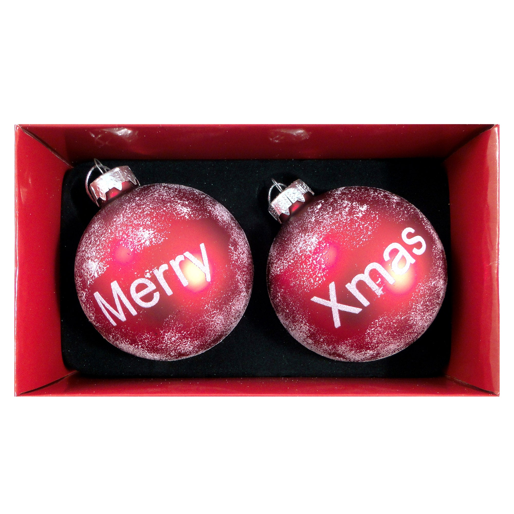 Red Set of Two Merry Xmas Glass Baubles