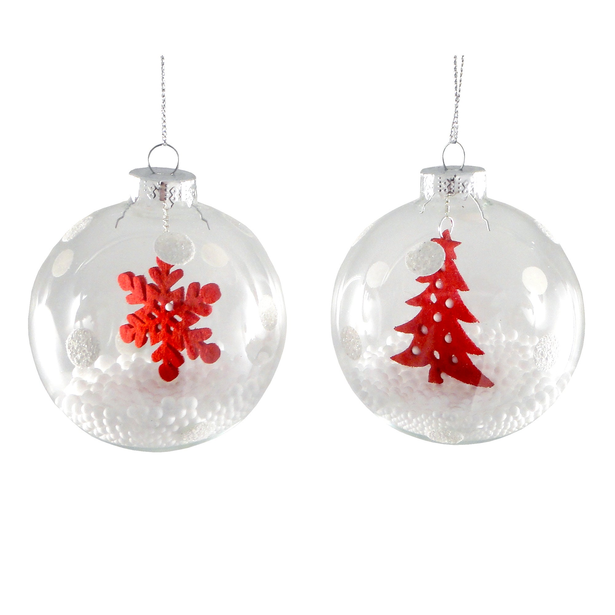 White Set of Two Snowball Baubles