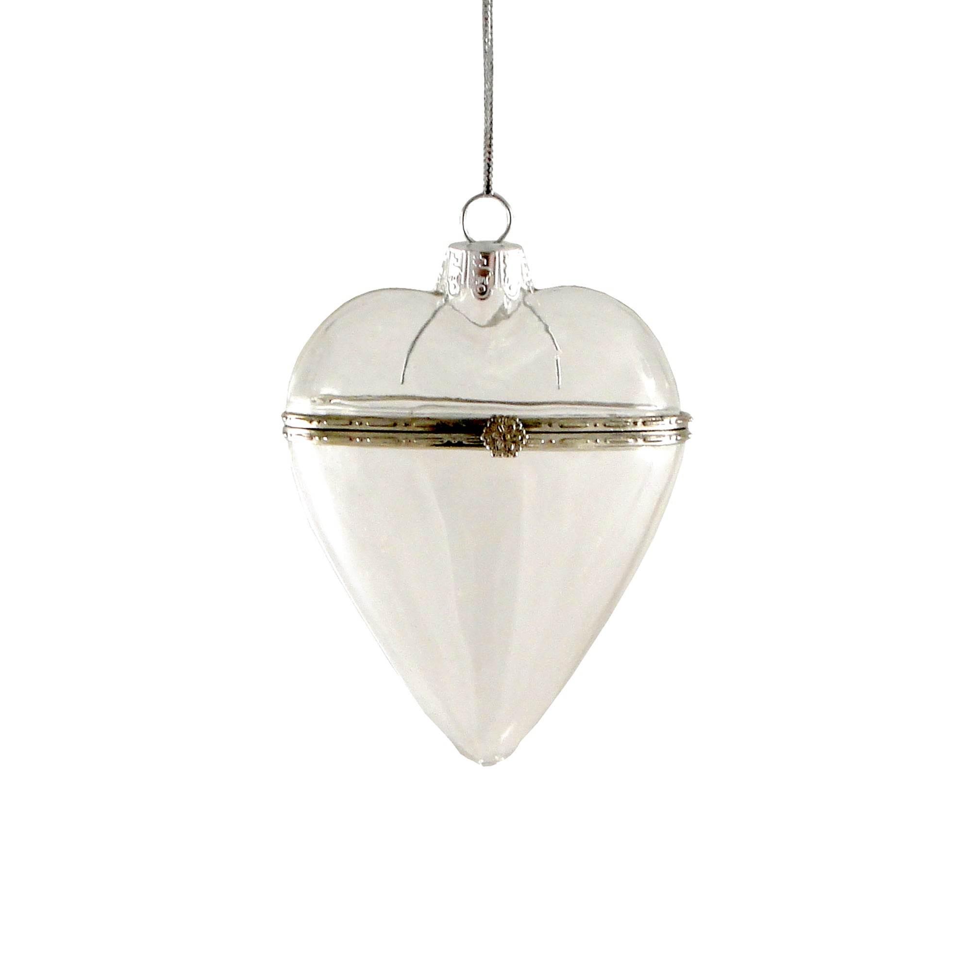 Silver Glass Open Clasp Heart