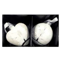 White Set of Two Winter Scene Glass Baubles