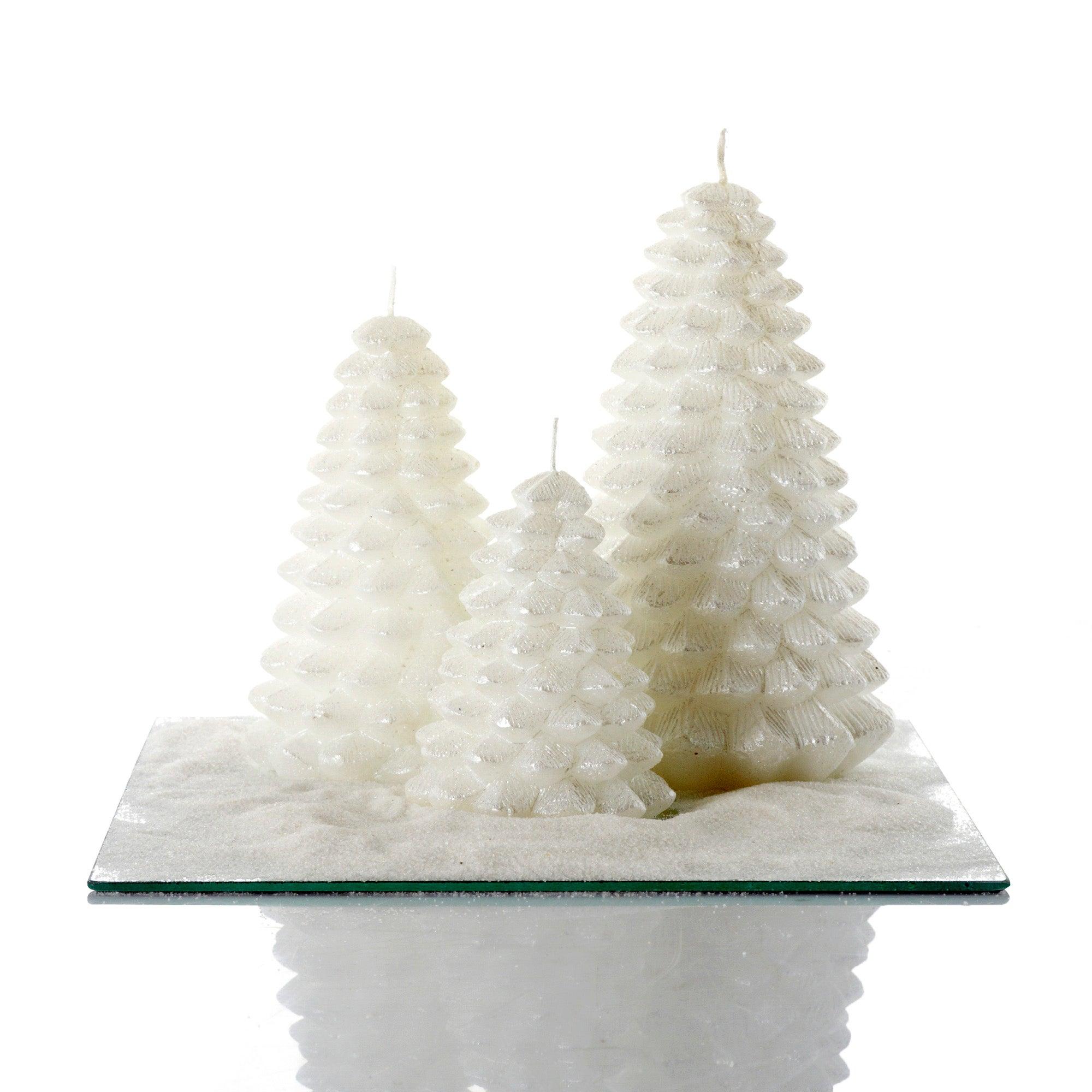 Winter Cottage Candle Garden White