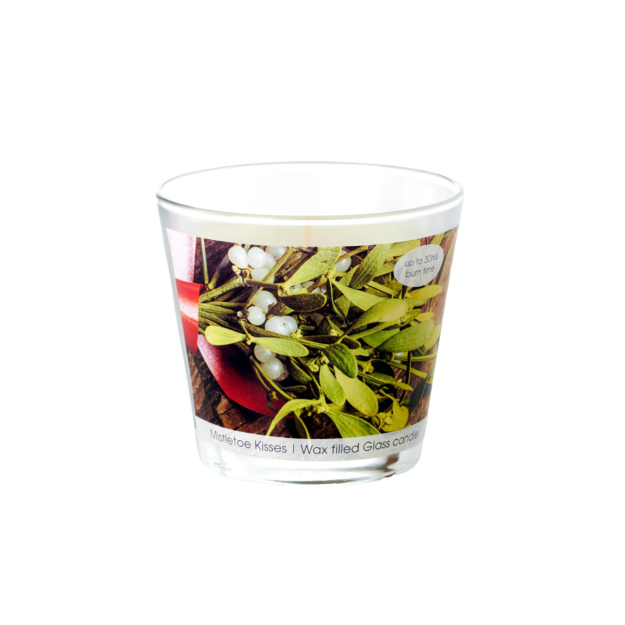 Mistletoe Kisses Wax Filled Glass Candle