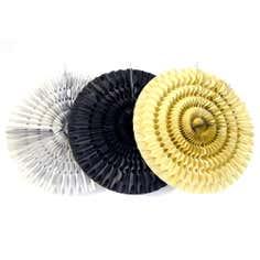 Set of Three Paper Fan Decorations