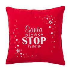 Red Santa Stop Here Cushion