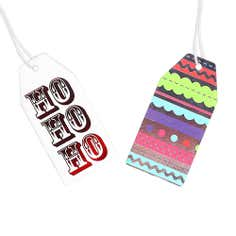 Set of 10 Red and Patterned Merry and Bright Gift Tags