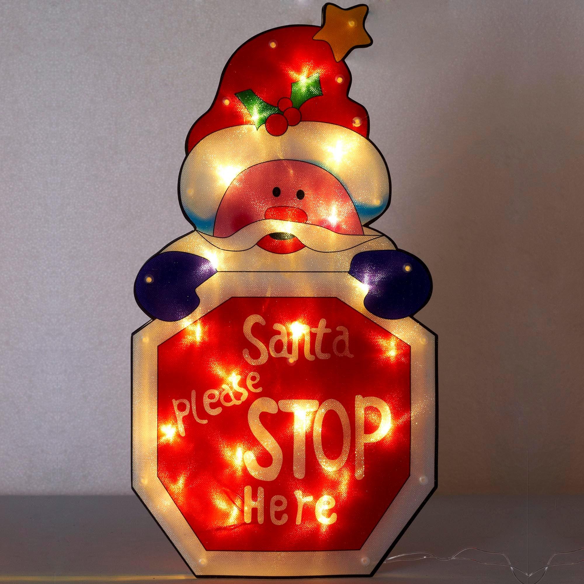 Santa Stop Here LED Illuminated Sign
