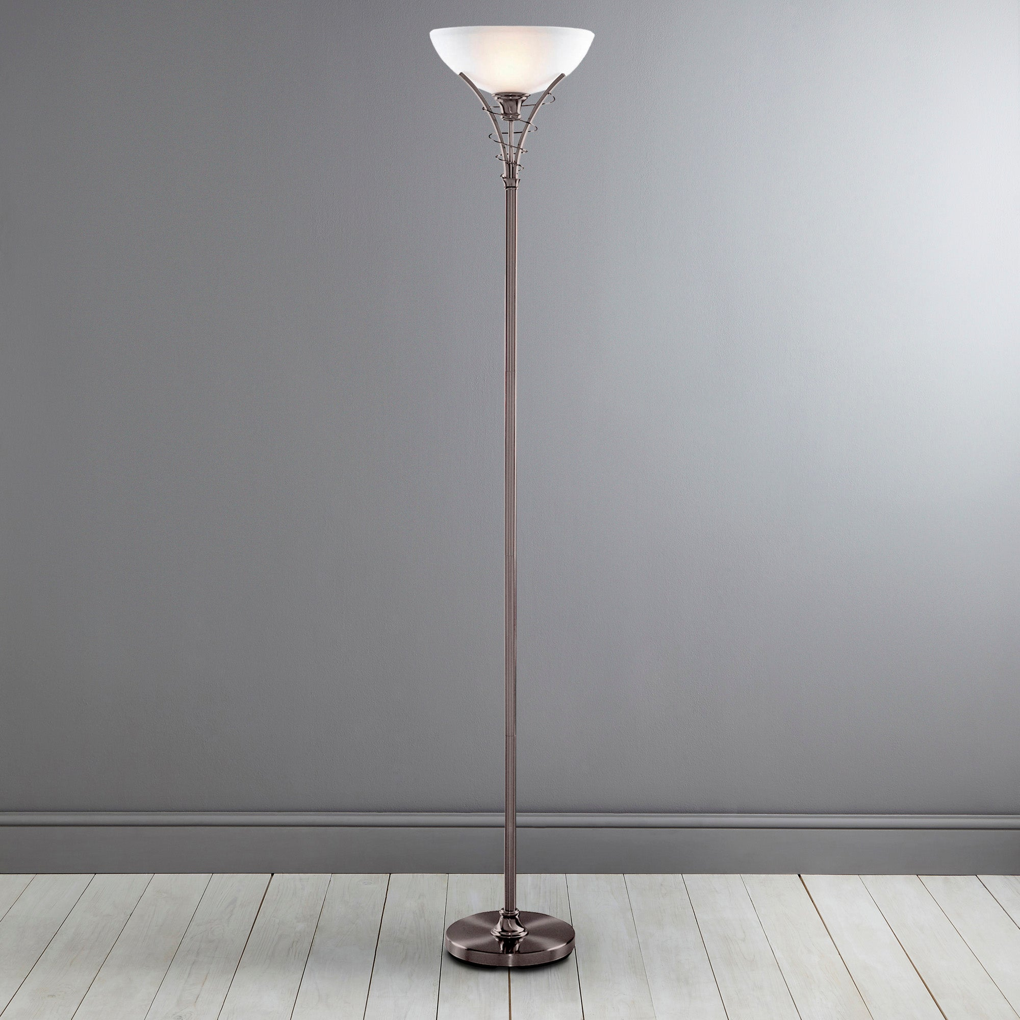 Linea Scroll Satin Silver Floor Lamp