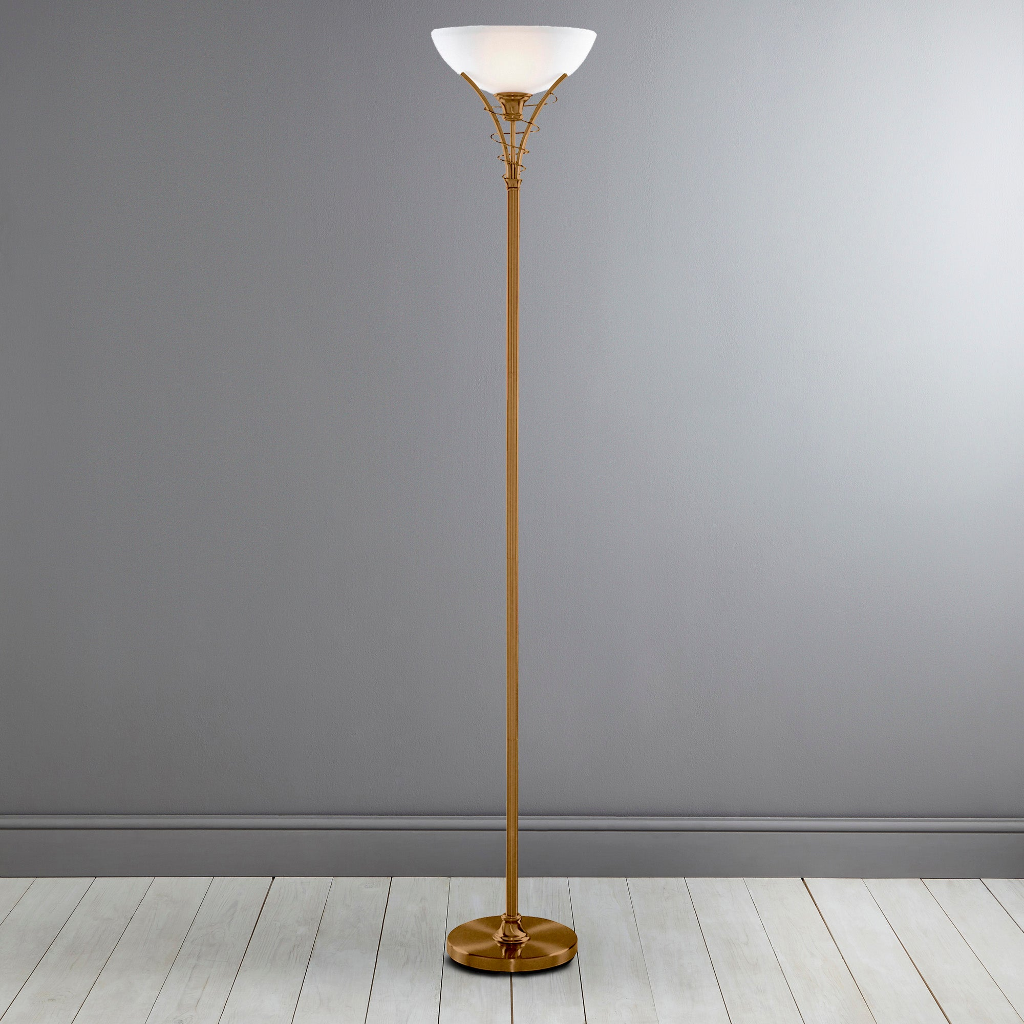 Linea Scroll Antique Brass Floor Lamp