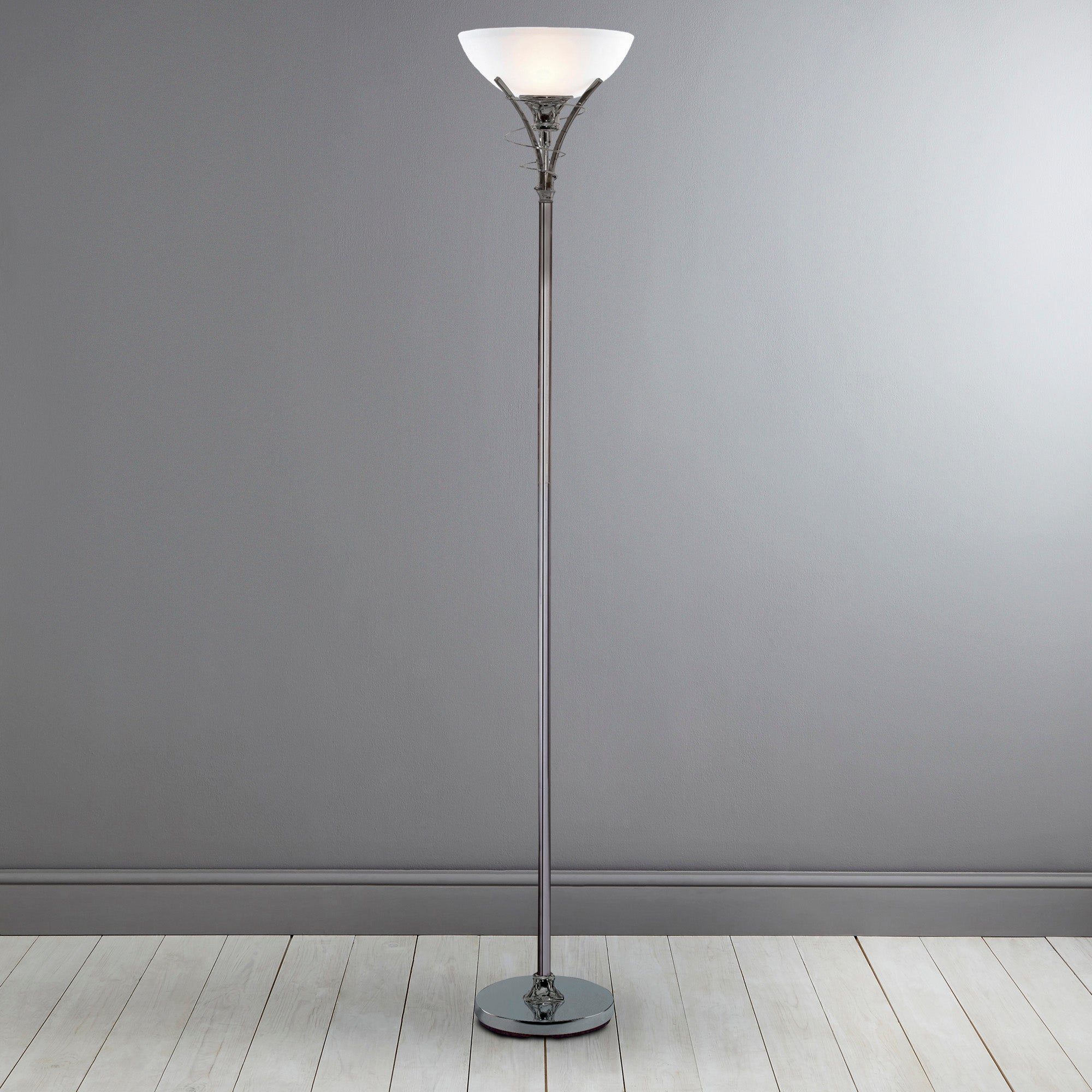 Linea Scroll Black Chrome Floor Lamp