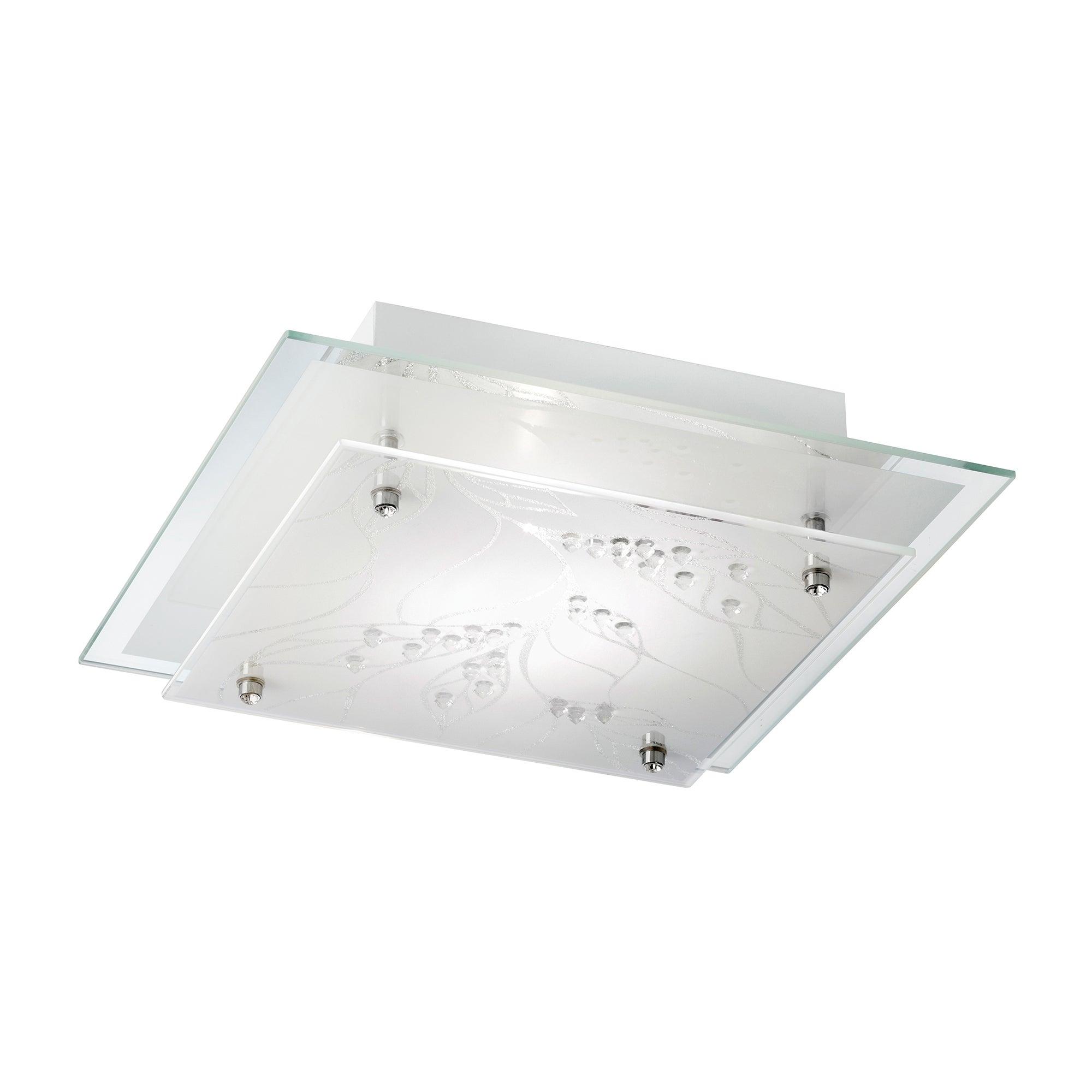Leaf White Square Flush Light Fitting
