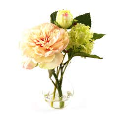 Dorma Peony and Foliage in a Clear Glass Vase