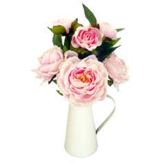 Peonies in Cream Metal Jug