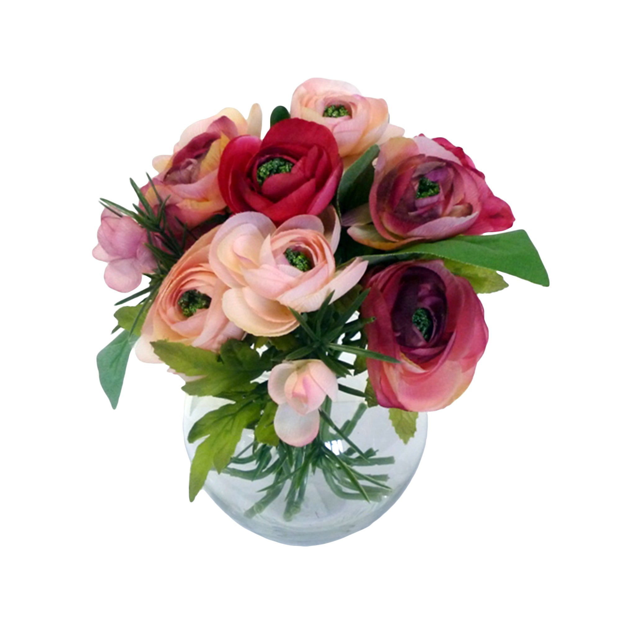 Artificial Ranunculus in Clear Glass Vase