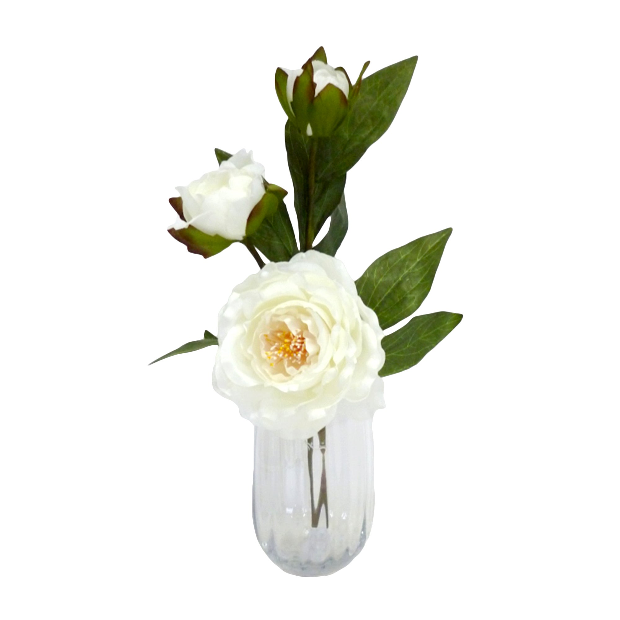 Artificial Peonies in a Clear Glass Vase