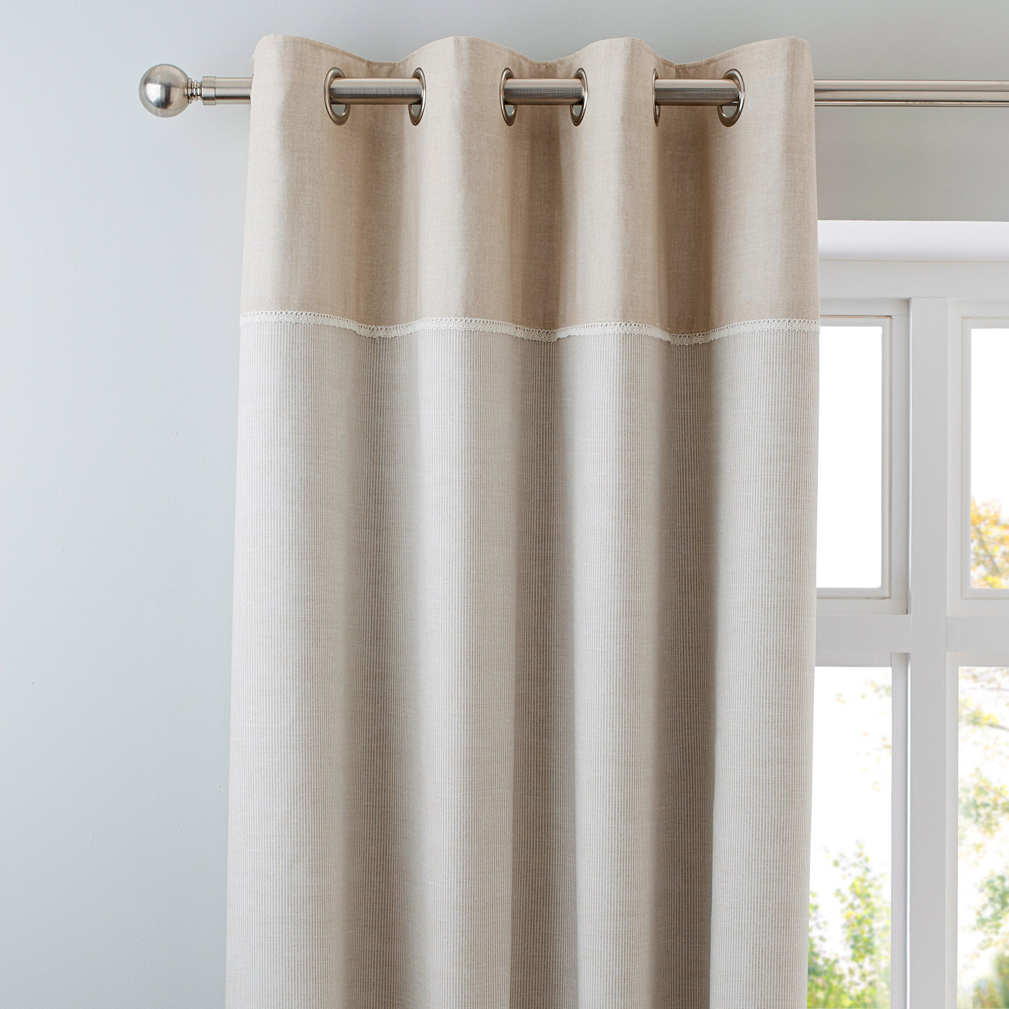 Natural Millie Thermal Eyelet Curtains