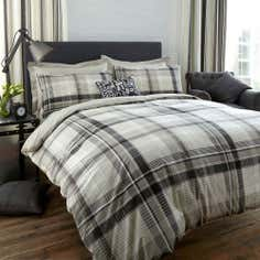 Grey Salvage Check Collection Duvet Cover Set
