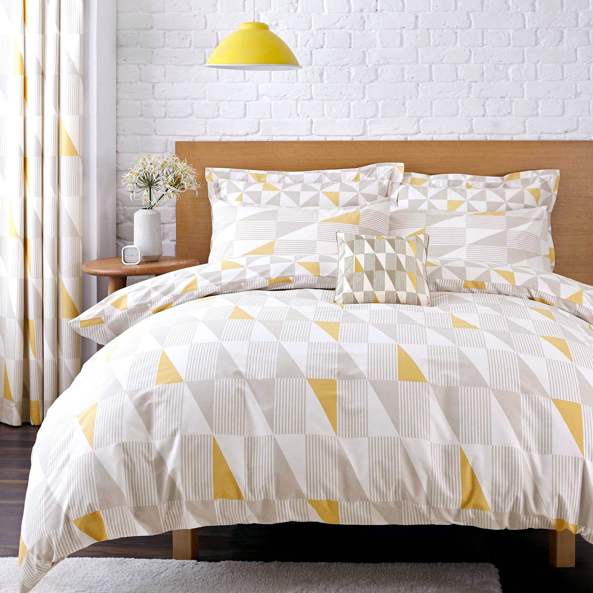 yellow skandi geometric collection duvet cover set dunelm. Black Bedroom Furniture Sets. Home Design Ideas