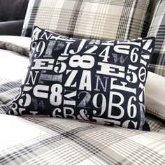 Grey Salvage Check Collection Boudoir Cushion